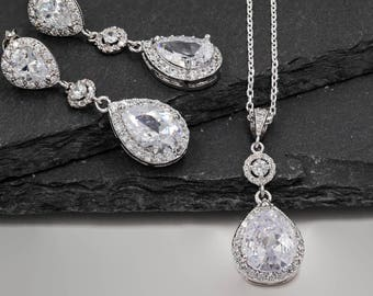 Crystal Bridal teardrop earrings, or brides jewellery set, with sparkling cubic zirconia, sterling silver chain, rose gold