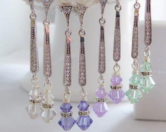 Pastel long slim Drop crystal earrings, rose gold, silver, Art Deco style, pave, swarovski pearl, Vintage, wedding, brides, mother  bride,
