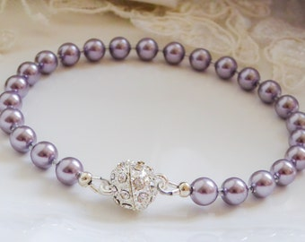 Pearl bracelet, bridesmaids jewellery, magnetic clasp, swarovski, bridal wedding jewellery, brides, mother  bride, bridesmaid, cream,
