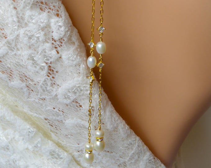 Backdrop necklace, freshwater pearl, gold, rose gold, Silver, double back chain, cubic zirconia, bride, wedding bridal, Long back necklace,