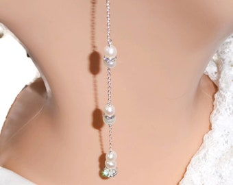 Real pearl Backdrop necklace, 925 Silver, with crystal beads, Choker necklace for brides, , proms, backless dress