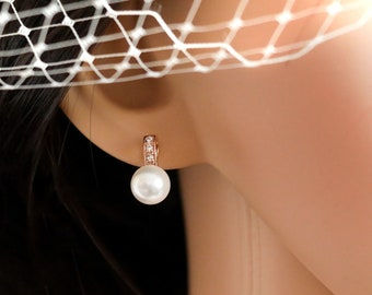 Pearl earrings with option to add pendant,  Swarovski pearls and  Cubic zirconia, rose gold or silver