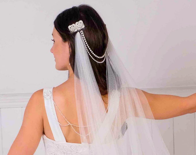 Bridal hair chain, forhead band, drape, brides hair comb, art deco, great gatsby, swarovski, ivory, white, pink, forehead brow band,