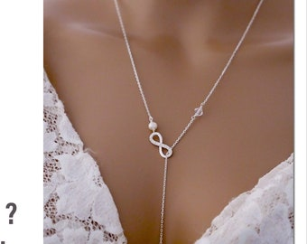 Personalised infinity pendant necklace, rose gold, Sterling silver, with cubic zirconia and leaf initial charm