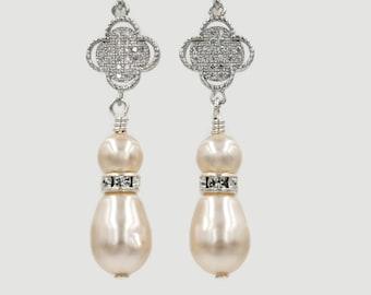 Swarovski pearl drop earrings, Custom jewellery, rose gold, silver, four leaf clover,crystal zirconia, mother  bride, Prom earrings