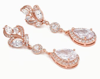 Rose Gold crystal earrings, custom bridal jewellery, Made with cubic zirconia jewellery.