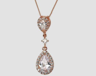 Rose Gold necklace pendant set, wedding earrings, prom, cubic zirconia, blush colour wedding, mother  bride gift, gift for her,