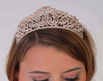 Swarovski Crystal elements tiara, Rose gold, silver, wedding crown, sweet 16, quinceanera, Bridal, prom, hair accessory, pageant headdress,