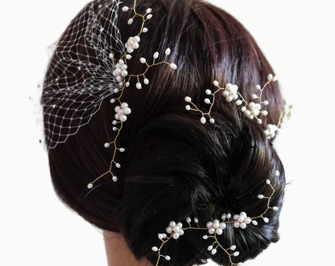 Pearl hair pin, hair leaf vine piece, gold or silver, bridal, baby's breath, wedding accessory, bride hair pin, bride pearl hair accessory