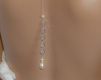 Crystal leaf Backdrop necklace, cubic zirconia, Swarovski pearl, bridal backless dress jewellery