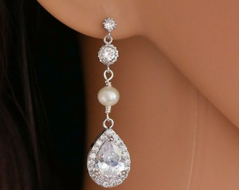 Long crystal drop earrings, swarovski pearl, teardrop pear drop, rose gold, gold, or silver