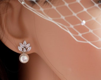 4 pairs of Leaf crystal and Pearl stud earrings, rose gold, silver, clip on or pierced, sparkly bridal jewellery,