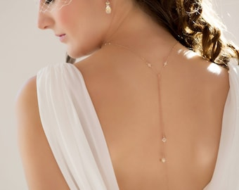 Bridal backdrop Necklace, lariat chain, double strand, self tie,