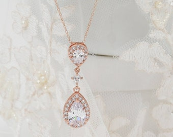 Rose Gold Crystal necklace drop pendant, with matching drop earrings, bracelet ideal for sparkling glam bride