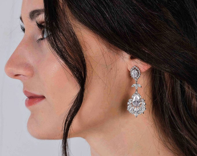 Crystal drop earrings, ideal as bridal jewelry, prom or pageant, with cubic zirconia