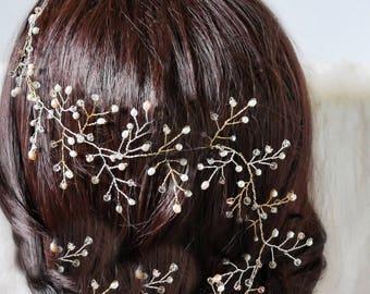 Bridal hair vine, Swarovski crystal, long hair, wedding head garland, pearl, braid wrap, wedding hair accessories, bride hair