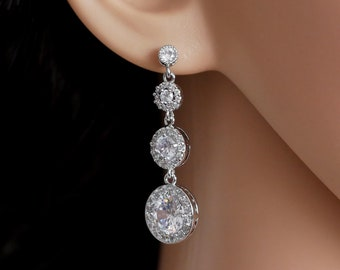 Bridal crystal drop earrings with sparkling round cubic zirconia pieces, in silver or rose gold