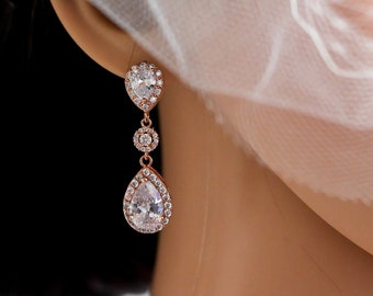 Bridal crystal earrings with teardrops with halos of cubic zirconia, silver rose gold, or gold