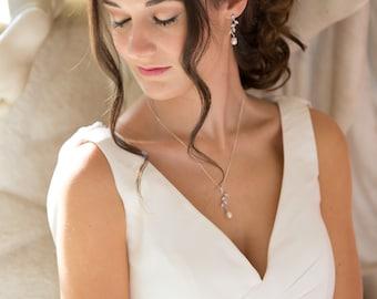 Leaf vine, Bridal pearl pendant necklace set, rose gold, Swarovski pearl, Cream, sterling silver, bride, bridesmaid, maid of honour, bride