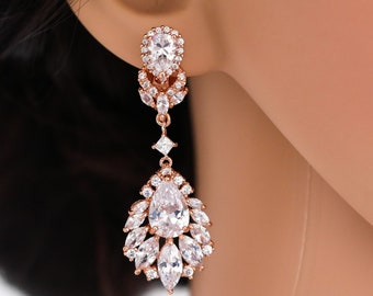 Clip on Crystal chandelier dangle drop earrings, Silver, rose gold, bridal jewelry, Prom earrings