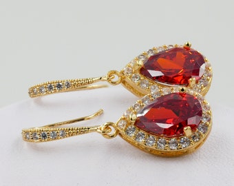 Cubic zirconia ruby red, sapphire or emerald crystal drop earrings, gift boxed for bridesmaids or brides