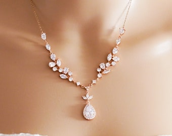 Silver or rose gold Bridal crystal necklace, matching earrings and bracelet and backdrop chain available
