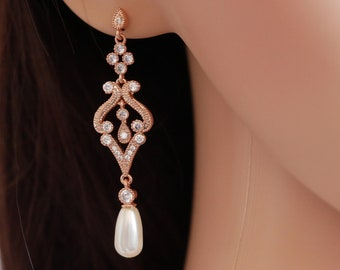 Rose gold Art Deco, Swarovski pearl drop earrings, vintage style, bridal earrings, with chosen colour pearls