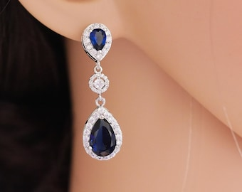 Sapphire or emerald Crystal earrings with optional pendant, Something blue, silver or rose gold