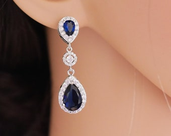Sapphire or emerald Crystal earrings with optional pendant, British royal jewellery, silver or rose gold