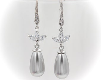 Bridesmaids earrings, with cubic zirconia leaf, sterling silver ear hooks, Swarovski pearls in custom colour choice.