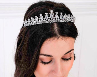 Crystal tiara, pink, clear, wedding hair band, silver, Swarovski, sweet 16, quinceanera, Bridal, prom, hair accessory, pageant headdress,
