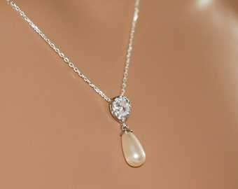 Bridal Pearl necklace set, crystal drop earrings, Crystal, Swarovski, wedding jewelry, custom made, brides, mother  bride, Prom earrings