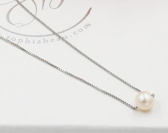 Single Real Pearl necklace, freshwater pearls, bridal jewellery with optional stud earrings, knotted ivory pearl bracelet