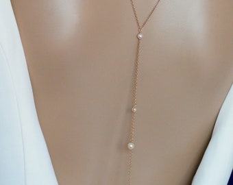 Double Backdrop lariat y necklace, swarovski crystal or pearls, bridal jewellery
