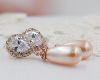 Bridal crystal Swarovski Pearl drop earrings, for brides, bridesmaids or Prom with optional matching necklace pendant