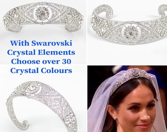 Meghan Markle wedding tiara with sparkling Swarovski crystal elements which shine like diamonds recreating the Queen Mary Tiara