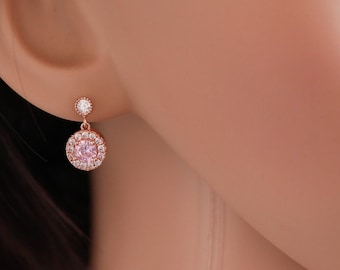 Rose Gold, silver, Petite crystal drop earrings, with pink, sapphire, ruby gem, purple