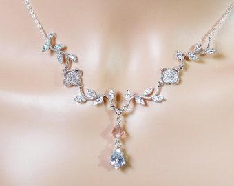 Silver Crystal leaf vine necklace, flower pendant drop, Swarovski crystal, Sterling 925, made to measure, wedding, prom, mother  bride