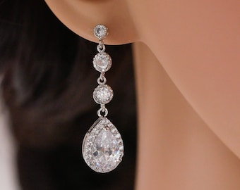 Bridal crystal drop earrings, cubic zirconia teardrop pear drop, rose gold, gold, or silver