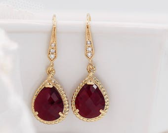 Ruby red crystal drop earrings, garnet colour, Gold or silver frame, baby blue, mint green, Montana, rope jewellery, Siam, bridal jewelry,