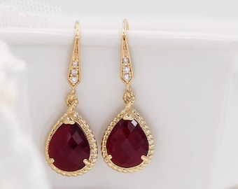 Ruby red crystal drop earrings, Gold frame, diamond hook, rope jewellery, Siam, bridal jewelry, mother  bride, Prom earrings
