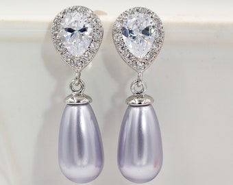 Lavender, grey, purples bridesmaids sparkly Pearl drop earrings,  silver, gold, rose gold