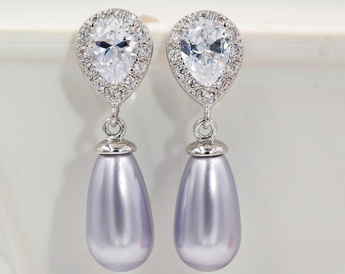 Pearl drop earrings, bridesmaids Crystal swarovski, silver, gold, wedding jewelry, custom made, brides, mother  bride, Prom earrings