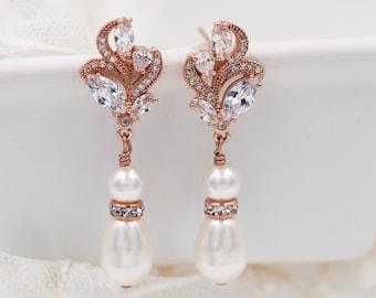 pearl drop earrings, Swarovski pearls, leaf flower bridal - clip on or pierced with cubic zirconia crystal and diamanté rhinestones