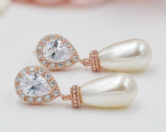 Rose gold, pearl drop, Bridal Crystal earrings, gold, silver, wedding jewelry, custom made, brides, mother  bride, Prom earrings