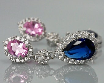 crystal drop earrings with pink and sapphire crystals, and option to add matching pendant necklace -