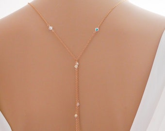 Bridal backdrop necklace, rose gold, layered necklace, Sterling silver, with Swarovski crystals, pearls, in your colour choice