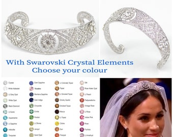 Custom bridal tiara with sparkling Swarovski crystal elements which shine like diamonds recreating the Queen Mary Tiara