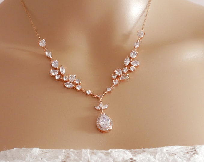 Bridal crystal necklace, Rose gold or silver, sterling silver, cubic zirconia, proms or pageants, with matching earrings and bracelet