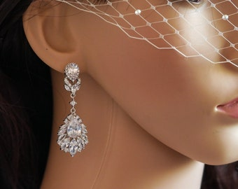 Clip on or pierced, Crystal cubic zirconia chandelier drop earrings, Silver or rose gold, wedding earrings, bridal jewelry, Prom
